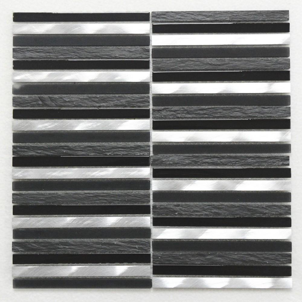 mosaik cifre cautive moma schwarz grau silber 30x30 cm i sorte schieferoptik fliesenwelt. Black Bedroom Furniture Sets. Home Design Ideas