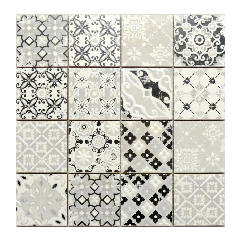 mosaik hph placke 15453 casa patchwork grigio grau 30x30 cm i sorte retro vintage style. Black Bedroom Furniture Sets. Home Design Ideas