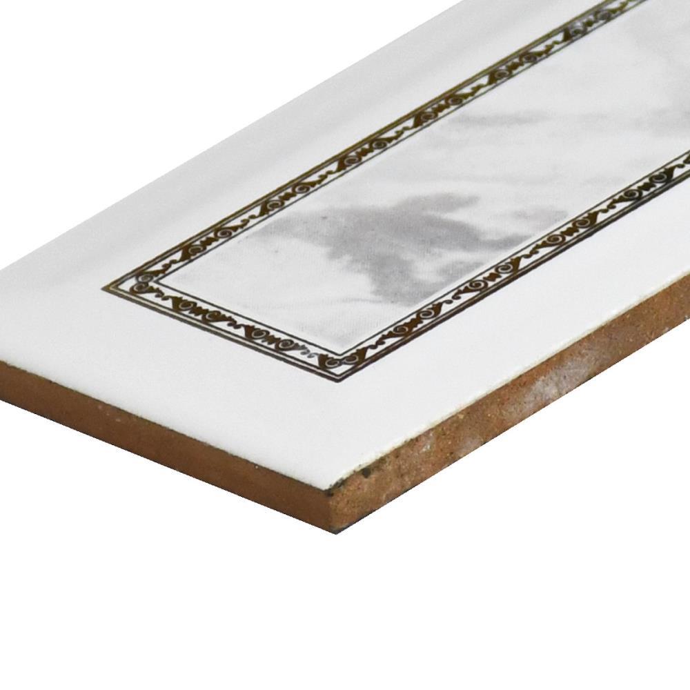 Bordüre Ceramica Alcora Nr 546 grau weiß gold Antik 7 5x20