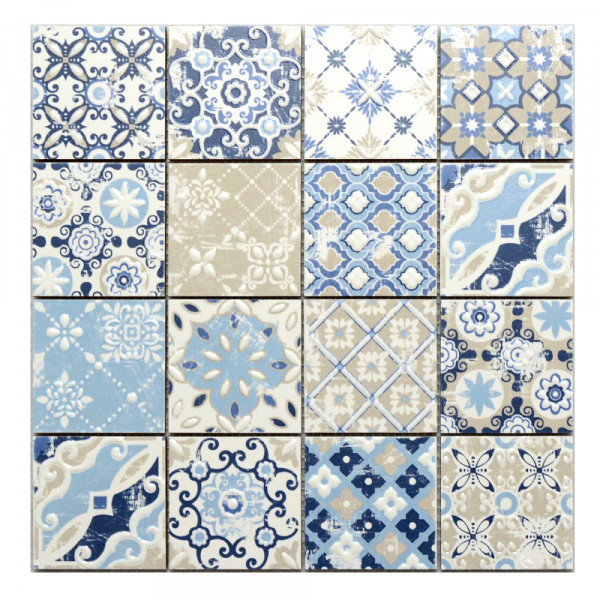 mosaik hph placke 15451 casa patchwork azzurro blau 30x30 cm i sorte retro vintage style. Black Bedroom Furniture Sets. Home Design Ideas